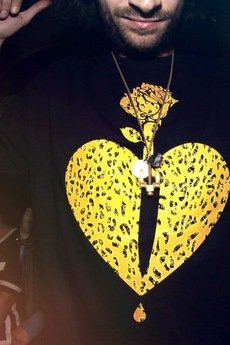 LIFESTAB - KNIFE IN HEART black tee (tiger camo)