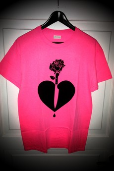 "LIFESTAB - Black NEON Heart ""Night & Day"" tee (Pink)"