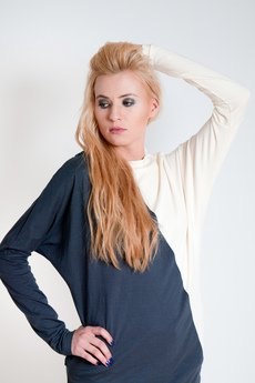 OCEeco - sukienka assymetric gray/cream
