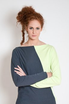 OCEeco - sukienka assymetric gray/light green