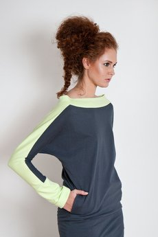 OCEeco - sukienka symmetric gray/light green