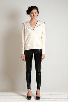 OCEeco - bluza z kapturem FLOWEaR cream