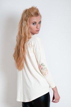 OCEeco - bluzka na zamek FLOWEaR patch - cream/gray
