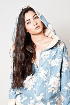 OCEeco - kwiecista bluza z kapturem - crem/blue