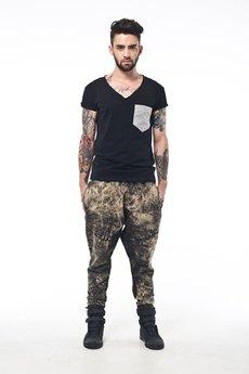 MADOX design - Spodnie marmurki z niskim krokiem