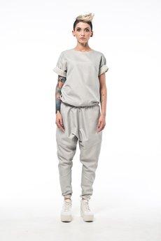MADOX design - Spodnie z niskim krokiem srebrne