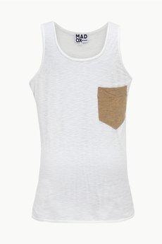 MADOX design - Top biały z beżową kieszonką