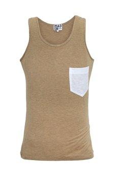MADOX design - Top beżowy z białą kieszonką