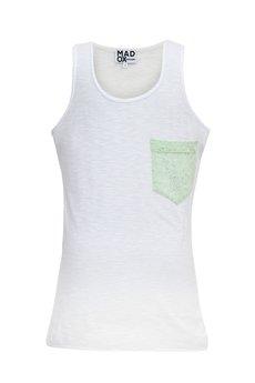 MADOX design - Top biały z pistacjową kieszonką