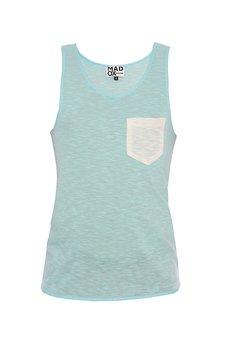 MADOX design - Top błękitny z białą kieszonką