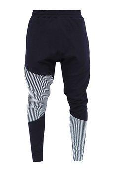 MADOX design - Spodnie z niskim krokiem dresowe granatowe w paski