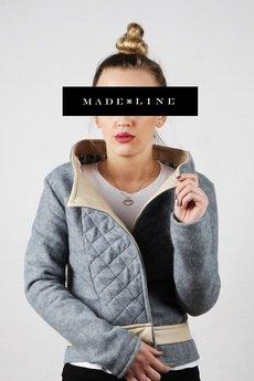 MADE LINE - Szara kurtka, ramoneska z ekoskórą , pikowaniem