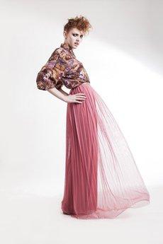 Zuzanna Krynicka - Plisowana spódnica maxi pudrowy róż