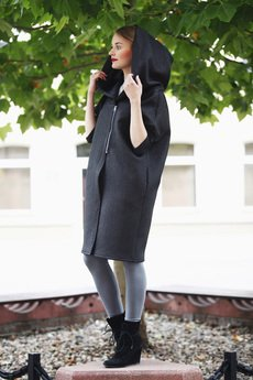 NUBEE - Bluza w formie płaszcza z pikówki na suwak z ogromnym kapturem