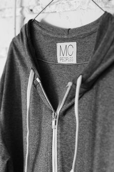 "MC Peoples - White zip hoodie ""Lighter Shade of Gray"""
