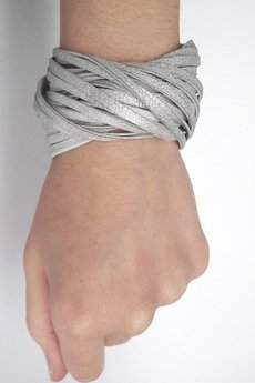 Mikashka - Bransoleta skórzana srebrna TWISTed