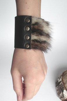 Mikashka - Bransoleta skóra i futro czarna TIGER
