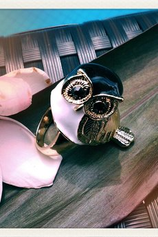 Missspark owl  ring with black head 3