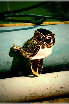 Missspark owl  ring with black head 1