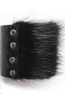 - Bransoleta skórzana z futrem czarna