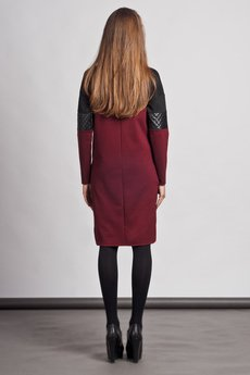 Lanti - Dress with quilted leather accents - red - SUK 107