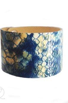 Mikashka - Bransoleta skórzana łuski węża BLUE