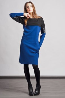 Lanti - Dress with quilted leather accents - blue - SUK 107