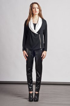Lanti - Cardigan with contrasting lapels - black - SWE 105