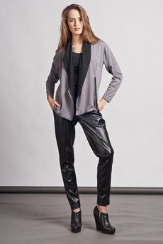 - Cardigan with contrasting lapels - gray - SWE 105
