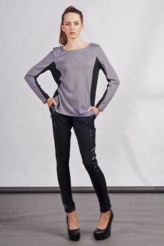 Lanti - Blouse with longer back - gray - BLU 108