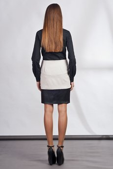 Lanti - Classy skirt with asymmetric zipper - white - SP103