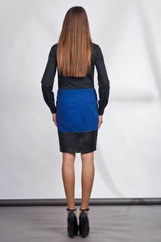 Lanti - Classy skirt with asymmetric zipper - blue - SP103