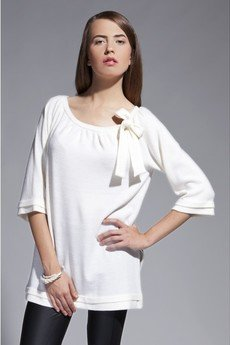 - Blouse with bow - white - BLU 011