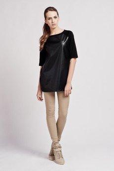 Lanti - Long leather top - black - BLU 103