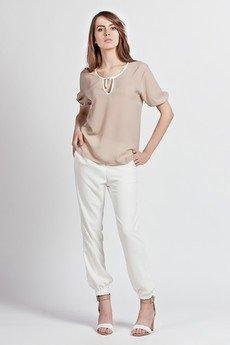 Lanti - Feminine tied blouse - mocca - BLU 105