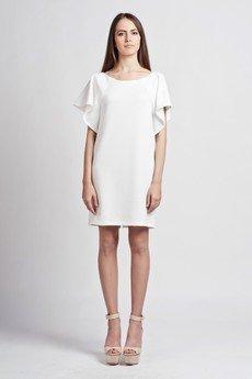 - Dress with frills - white - SUK 104