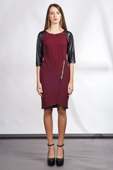 Lanti - Dress with zipper and leather sleeves - red - SUK 106