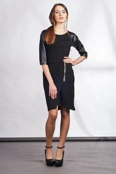 Lanti - Dress with zipper and leather sleeves - black - SUK 106