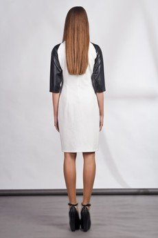 Lanti - Dress with zipper and leather sleeves - white - SUK 106