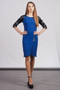 Lanti - Dress with zipper and leather sleeves - blue - SUK 106
