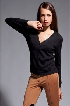 Lanti - Simple v-neck cardigan - black - SWE 013