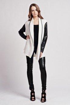 Lanti - Cardigan with leather sleeves - ecru - SWE 101