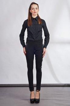 - Slim pants with leather stripe - black - SD 102