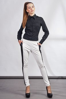 - Slim pants with leather stripe - white - SD 102