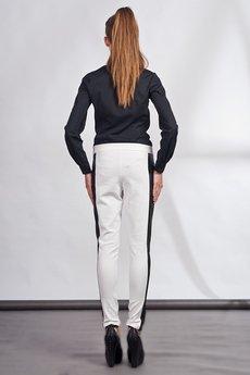 Lanti - Slim pants with leather stripe - white - SD 102