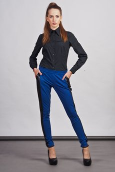 - Slim pants with leather stripe - blue - SD 102