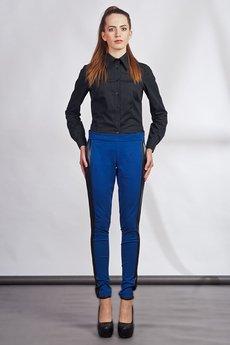 Lanti - Slim pants with leather stripe - blue - SD 102