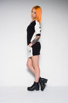 Keyce - BLACK & WHITE SWEAT DRESS