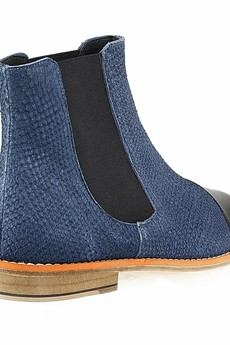 Rita Krzysiek - Blue Leather Chelsea Boots