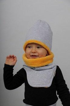 Gapula - ZIMOWA CZAPKA szaro- żółta